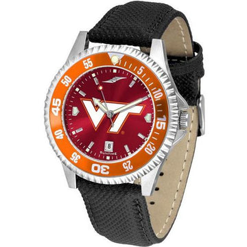 Virginia Tech Hokies Mens Competitor Ano Poly/Leather Band Watch w/ Colored Bezel
