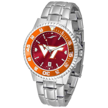 Virginia Tech Hokies Mens Competitor AnoChrome Steel Band Watch w/ Colored Bezel