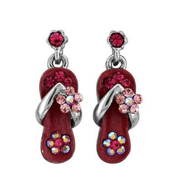 Watermelon Pink Crystal Flip Flop Earrings in White Gold Plate