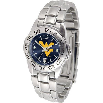 West Virginia Mountaineers Ladies AnoChrome  Steel Band Sports Watch