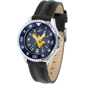 West Virginia Mountaineers Ladies Competitor Ano Poly/Leather Band Watch w/ Colored Bezel
