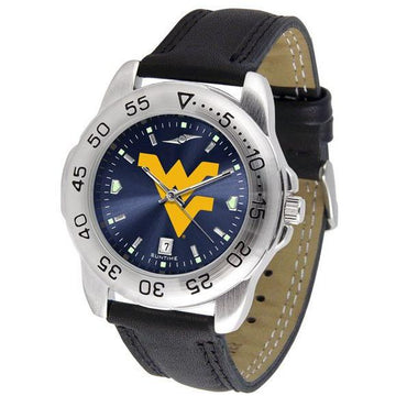 West Virginia Mountaineers Mens AnoChrome Leather Band Sports Watch