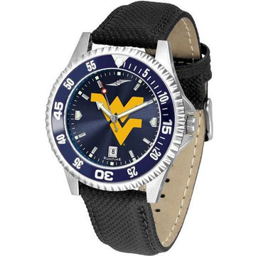 West Virginia Mountaineers Mens Competitor Ano Poly/Leather Band Watch w/ Colored Bezel