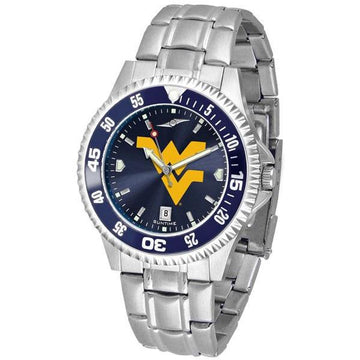 West Virginia Mountaineers Mens Competitor AnoChrome Steel Band Watch w/ Colored Bezel