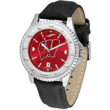 Wisconsin Badgers Competitor AnoChrome - Poly/Leather Band Watch
