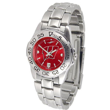 Wisconsin Badgers Ladies AnoChrome  Steel Band Sports Watch