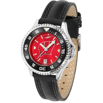 Wisconsin Badgers Ladies Competitor Ano Poly/Leather Band Watch w/ Colored Bezel