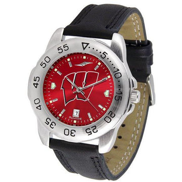 Wisconsin Badgers Mens AnoChrome Leather Band Sports Watch