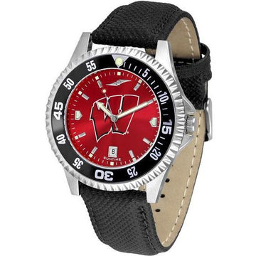 Wisconsin Badgers Mens Competitor Ano Poly/Leather Band Watch w/ Colored Bezel