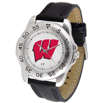 Wisconsin Badgers Mens Leather Band Sports Watch