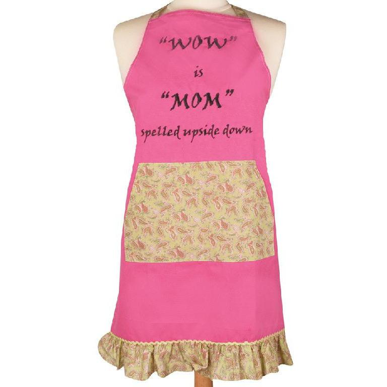 Wow is Mom Spelled Upside Down Apron-Apron-Manual Woodworkers & Weavers-Top Notch Gift Shop