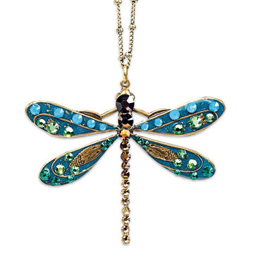 Dragonfly Necklace - Multicolor Crystal and Enameled