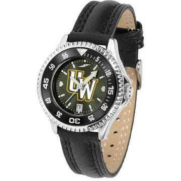 Wyoming Cowboys Ladies Competitor Ano Poly/Leather Band Watch w/ Colored Bezel