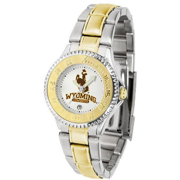Wyoming Cowboys Ladies Competitor Two-Tone Band Watch