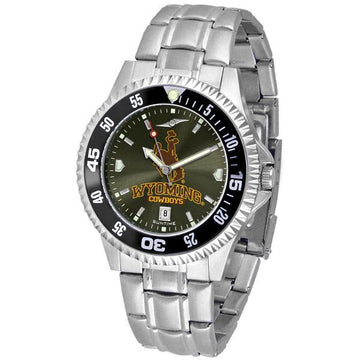 Wyoming Cowboys Mens Competitor Ano Poly/Leather Band Watch w/ Colored Bezel