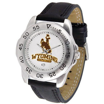 Wyoming Cowboys Mens Leather Band Sports Watch