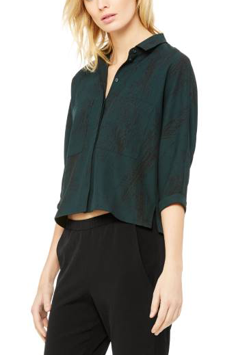 Emerald Moss Crepe Pocket Blouse