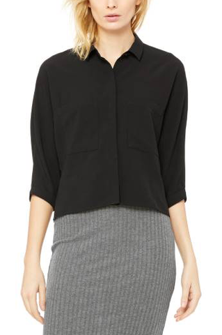 Black Moss Crepe Pocket Blouse