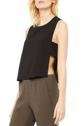Black Moss Crepe Panel Top
