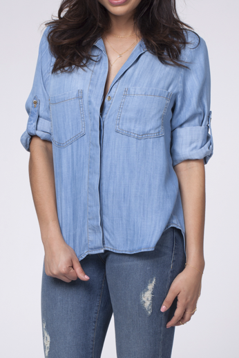 Split Back Chambray Top