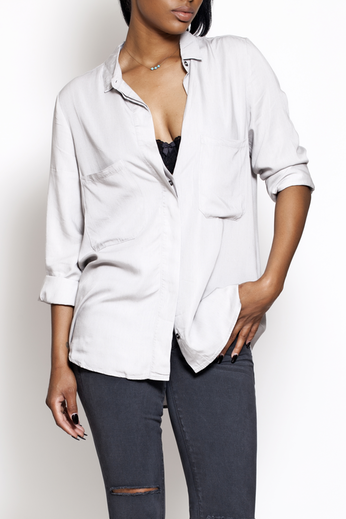 Long Sleeve Silver Button-up