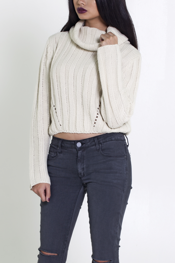 Cowl Neck Cropped Sweater