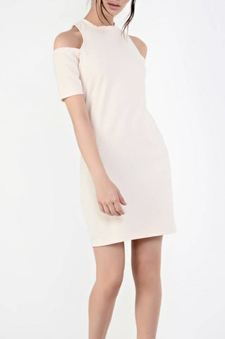 Cold Shoulder Cream Dress