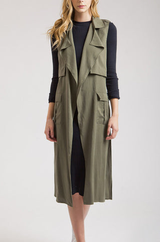 Olive Trench Vest