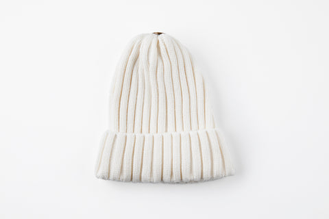 White Acrylic Ribbed Hat - Vice Versa Hats