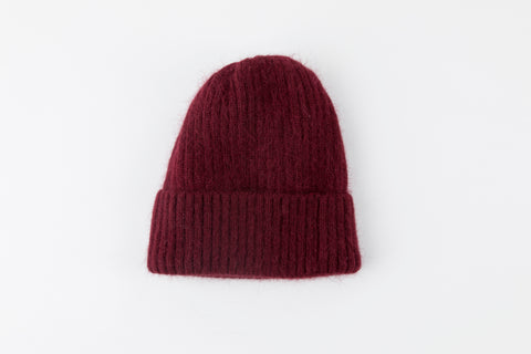 Maroon Angora Ribbed Hat - Vice Versa Hats
