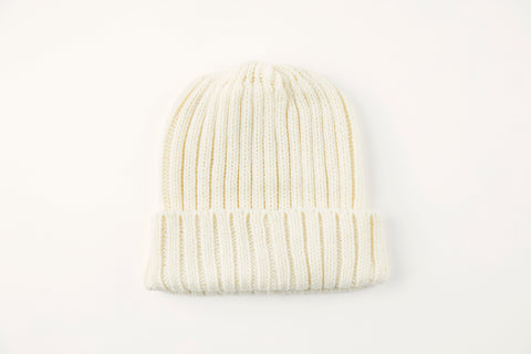 Winter White Acrylic Ribbed Hat