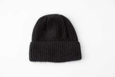 Black Angora Ribbed Hat - Vice Versa Hats