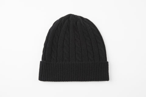 Black 100% Cashmere Cable Knit Hat
