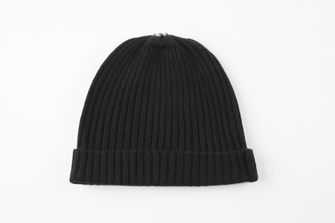 Black 100% Cashmere Ribbed Hat