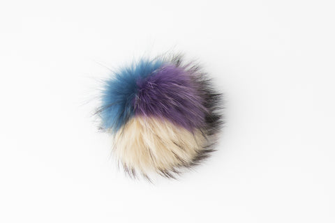 Multicolor Purple, Beige, Blue Raccoon Poof - Vice Versa Hats