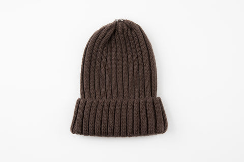 Brown Acrylic Ribbed Hat