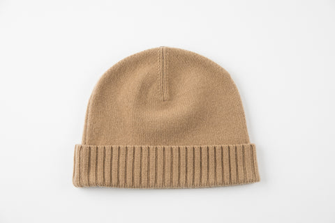 Camel 100% Cashmere Flat Weave Hat with Ribbed Cuff