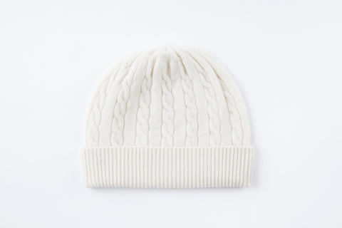Off White 100% Cashmere Cable Knit Hat - Vice Versa Hats