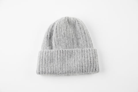Gray Angora Ribbed Hat - Vice Versa Hats