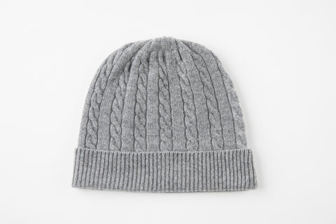 Gray 100% Cashmere Cable Knit Hat