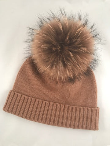 VV Cashmere Hat with Camel Raccoon Poof - Vice Versa Hats