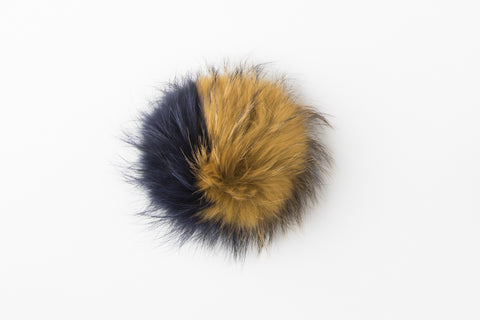 Multicolor Maize & Blue Raccoon Poof - Go Blue! - Vice Versa Hats