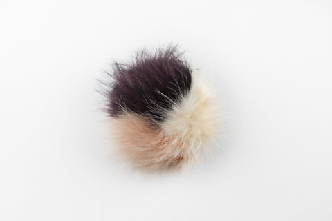 Multicolor Salmon, Winter White & Maroon Raccoon Poof - Vice Versa Hats