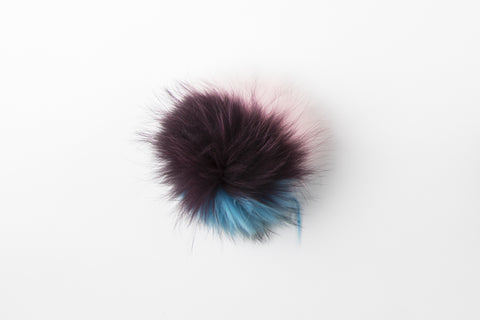 Multicolor Blue, Pink and Maroon Raccoon Poof - Vice Versa Hats