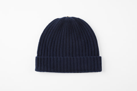 Navy 100% Cashmere Ribbed Hat