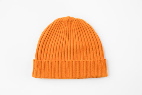Orange 100% Cashmere Ribbed Hat
