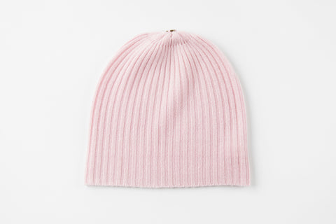 Pink 100% Cashmere Ribbed Hat