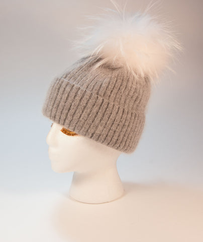 Classic Gray Angora with White Raccoon poof - Vice Versa Hats