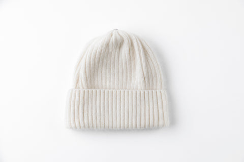 White Angora Ribbed Hat - Vice Versa Hats