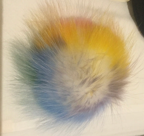 Light Rainbow Raccoon Poof - Vice Versa Hats